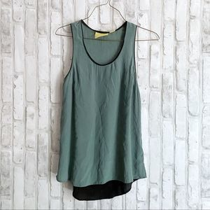 Maeve Anthro Colorblock Green Black Blouse sz 0